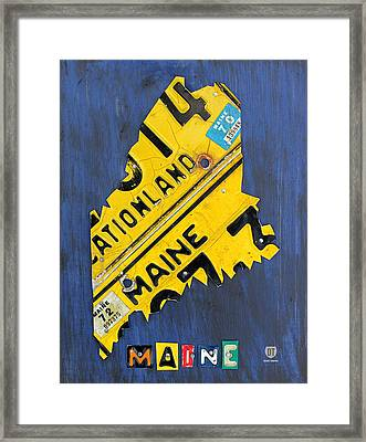 Maine License Plate Map Vintage Vacationland Motto Framed Print by Design Turnpike
