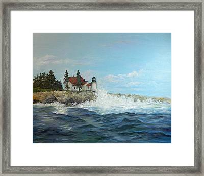 Framed Print featuring the painting Maine Lighthouse by Sandra Nardone