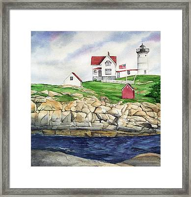 Maine Lighthouse Watercolor Framed Print