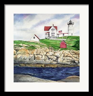 Cape Neddick Lighthouse Paintings Framed Prints
