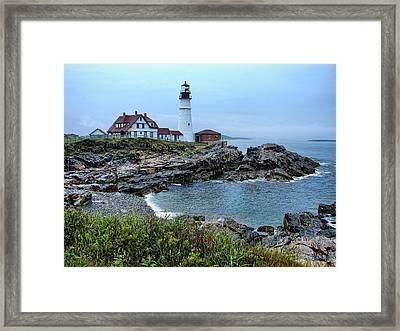 Maine Morning At Portland Head Light Framed Print by Carolyn Fletcher