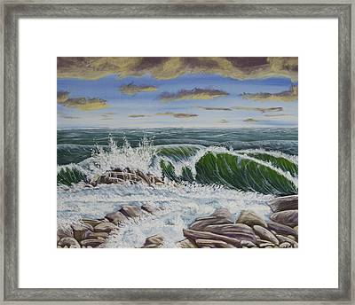 Crashing Waves At Pemaquid Point Maine Framed Print by Keith Webber Jr