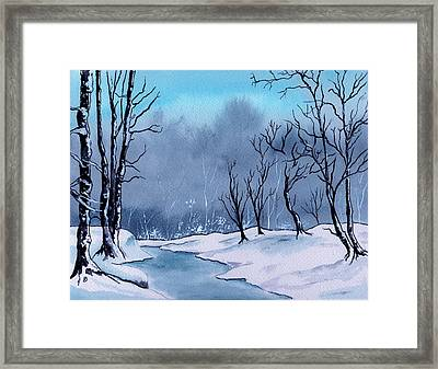 Maine Snowy Woods Framed Print