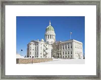 Maine State Capitol Building In Winter Augusta Framed Print by Keith Webber Jr