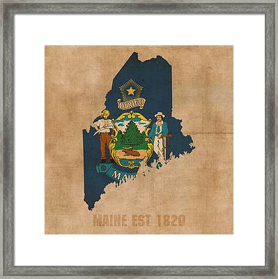 Maine State Flag Map Outline With Founding Date On Worn Parchment Background Framed Print