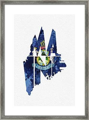 Maine Typographic Map Flag Framed Print by Ayse Deniz