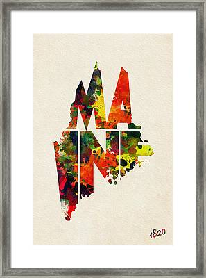 Maine Typographic Watercolor Map Framed Print by Ayse Deniz