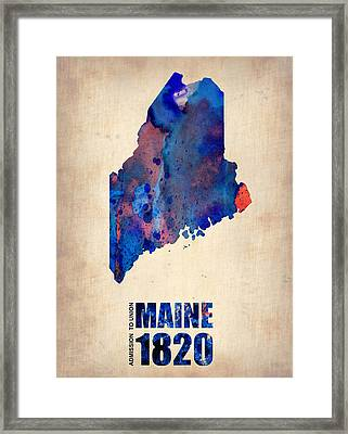Maine Watercolor Map Framed Print by Naxart Studio