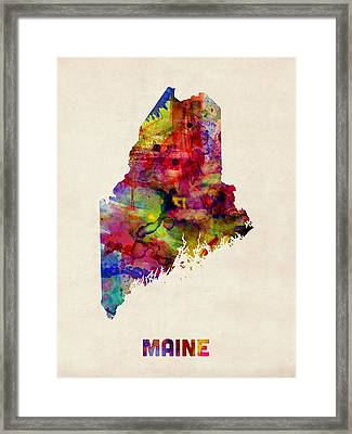 Maine Watercolor Map Framed Print by Michael Tompsett
