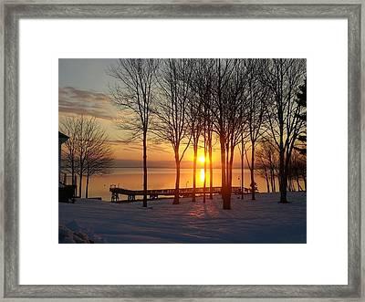 Maine Winter Sunrise Framed Print by Melissa C