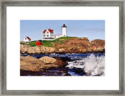 Framed Print featuring the photograph Maine's Nubble Light by Mitchell R Grosky