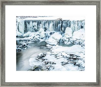 Maine's Winter Wonderland Tidal Waterfall Framed Print by Stroudwater Falls Photography