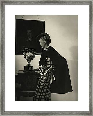 Maire Wolkonsky Wearing A Robert Piguet Cape Framed Print