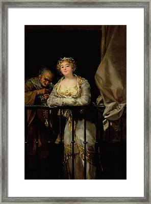 Maja And Celestina On A Balcony, 1805-12 Oil On Canvas Framed Print