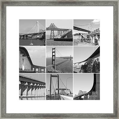 Majestic Bridges Of The San Francisco Bay Area Black And White 20140828 Framed Print