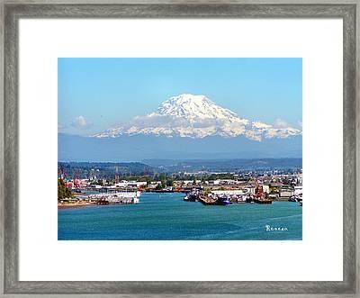 Majestic Mt Rainier And Pt Of Tacoma Wa Framed Print