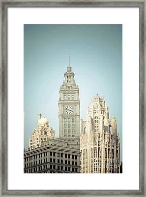 Majestic Vintage Buildings Chicago Framed Print by Linda Matlow