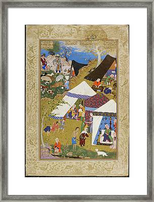 Majnun Brought To Layla's Tent Framed Print by British Library
