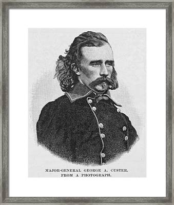 Major General George Armstrong Custer, Engraved From A Photograph, Illustration From Battles Framed Print by Alexander Gardner