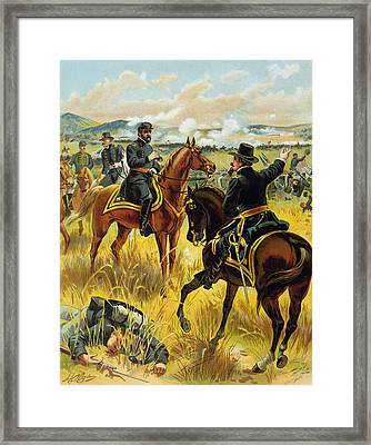 Major General George Meade At The Battle Of Gettysburg Framed Print by Henry Alexander Ogden