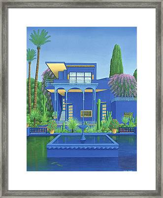 Majorelle Gardens, Marrakech, 1996 Carylic On Linen See 186509 Framed Print by Larry Smart
