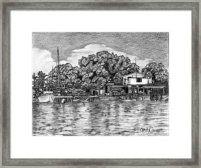 Framed Print featuring the drawing Majuro Harbor by Lew Davis