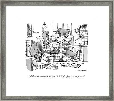 Make A Note - Their Use Of Tools Is Both Framed Print by Joe Dator