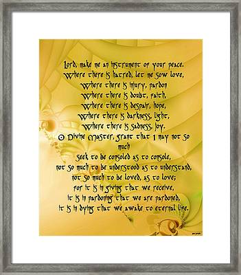 Make Me An Instrument Of Your Peace Framed Print by Sir Josef - Social Critic - ART