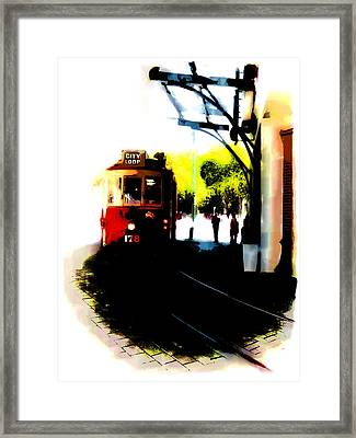 Make Way For The Tram  Framed Print by Steve Taylor