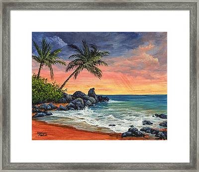 Framed Print featuring the painting Makena Beach Sunset by Darice Machel McGuire