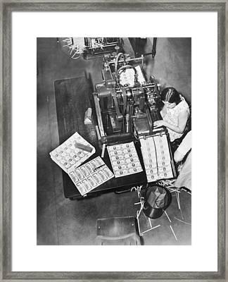 Making $100 Bills Framed Print by Underwood Archives