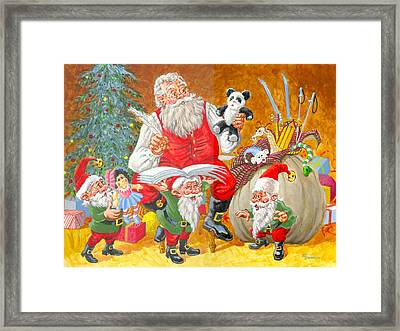 Making A List Checking It Twice Framed Print by Richard De Wolfe