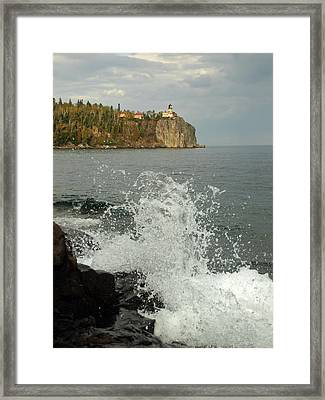 Framed Print featuring the photograph Making A Splash At Split Rock Lighthouse  by James Peterson