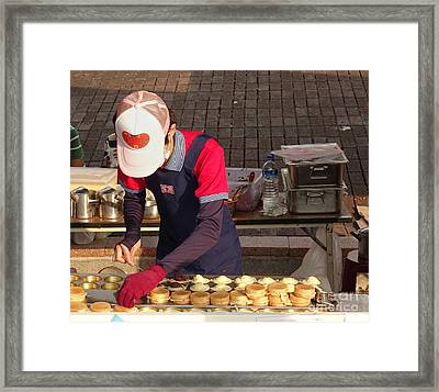 Making Chinese Red Bean Cakes Framed Print by Yali Shi