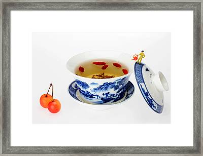 Making Longjing Tea Traditional Chinese Culture Miniature Art Framed Print
