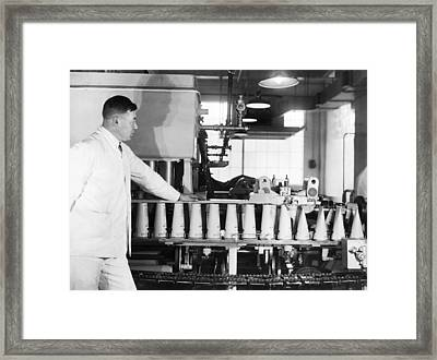 Making Paper Milk Containers Framed Print by Underwood Archives