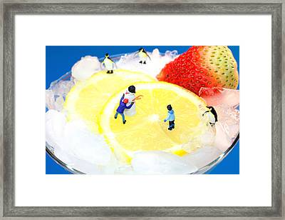 Making Snowman On Icy Drink Little People On Food Framed Print by Paul Ge