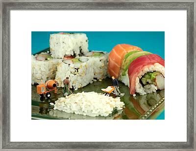 Making Sushi Little People On Food Framed Print