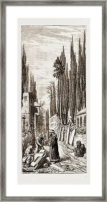 Making Tombstones At The Entrance To The Turkish  Cemetery Framed Print