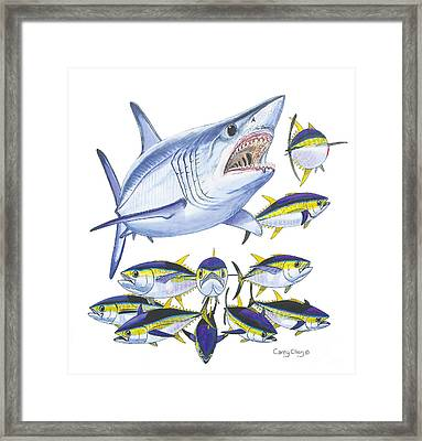 Mako Attack Framed Print by Carey Chen