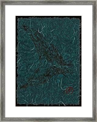 Mako Tail On Pale Blue Unryu/mulberry Paper Framed Print