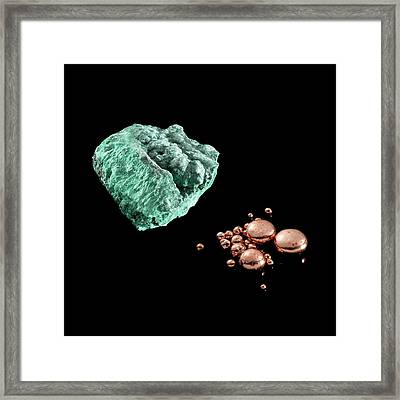 Malachite And Copper Framed Print by Science Photo Library