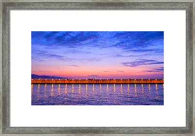 Malaga Pink And Blue Sunrise  Framed Print by Debra Martz