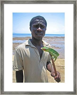 Malagasy Boy With Cameleon On Nosy Komba Framed Print