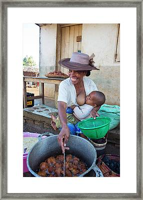 Malagasy Mother Selling A Streetfood Framed Print