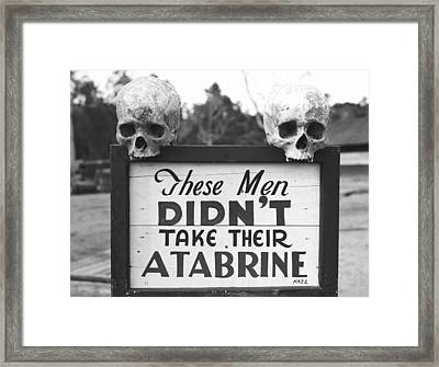 Malaria Drug Warning, World War II Framed Print by Science Photo Library