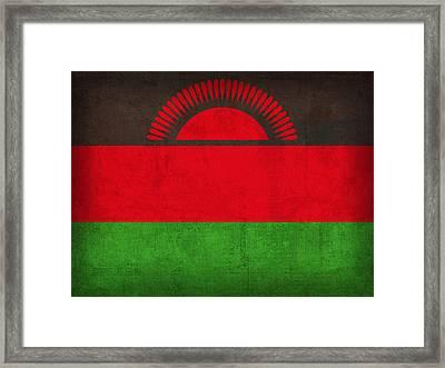 Malawi Flag Vintage Distressed Finish Framed Print