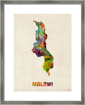 Malawi Watercolor Map Framed Print by Michael Tompsett