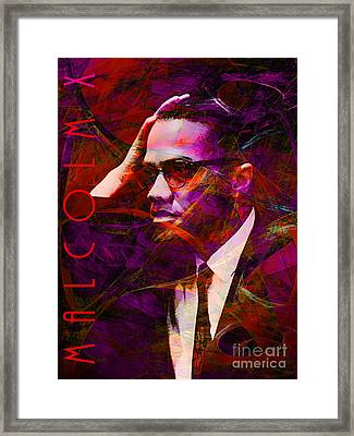 Malcolm X 20140105m28 With Text Framed Print by Wingsdomain Art and Photography