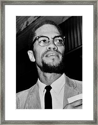 Malcolm X Framed Print by Benjamin Yeager